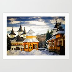 Winter at Slatioara Monastery, Moldova, Romania Art Print