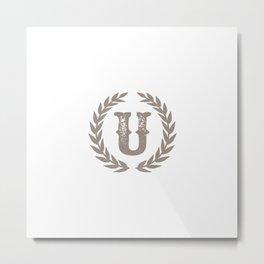 Beige Monogram: Letter U Metal Print