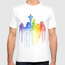 Seattle Skyline Rainbow Watercolor T-shirt