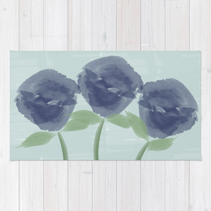 Watercolor Roses Are Blue Rug