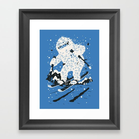 Skiing Yeti Framed Art Print