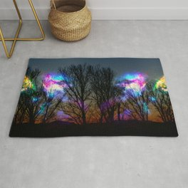 nebula in the naked trees Rug