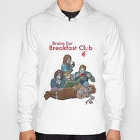 breakfast club Hoodies featuring Brains for Breakfast Club (white) by Ayota Illustration