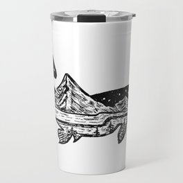 """Trout Dreams"" Hand Drawn Double Exposure Fishing Camping Art Travel Mug"
