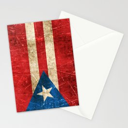 Vintage Aged and Scratched Puerto Rican Flag Stationery Cards