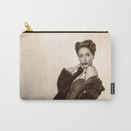 """""""Show a Little Shoulder"""" - The Playful Pinup - Vintage Pin-up Girl in Coat by Maxwell H. Johnson Carry-All Pouch"""