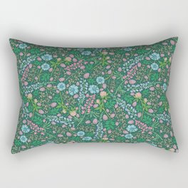 Violet clover and lupine among cornflowers and herbs Rectangular Pillow