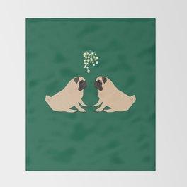 Pug Mistletoe Throw Blanket