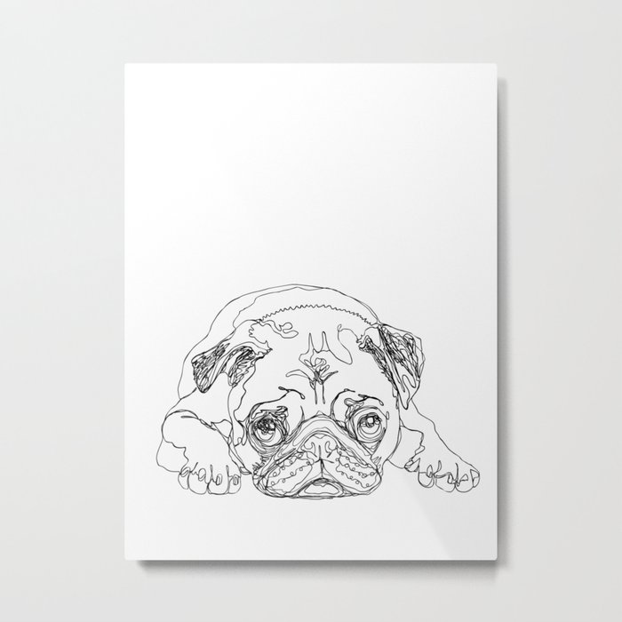 Lazy Pugturday Metal Print