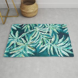 SANTA CRUZIN' Navy Tropical Palm Leaves Rug