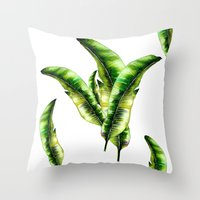 banana leaf Throw Pillows featuring Banana Leaf -watercolor  by craftberrybush