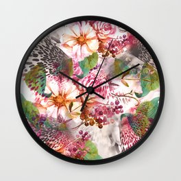 Animal flowers abstract Wall Clock