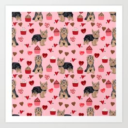 Yorkie valentines day yorkshire terrier hearts cupcakes dog breeds dog gifts pet portraits Art Print
