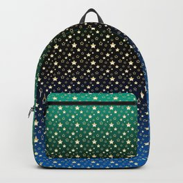 Gold stars on a green, black, and blue gradient. Backpack