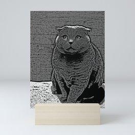 Cute Scottish Fold Cat In Monochrome Animal Art Mini Art Print