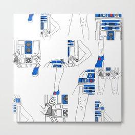 Robot Girl Cubism Metal Print