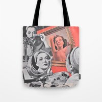 persona Tote Bags featuring Persona - collage by Deborah Stevenson Collage Art
