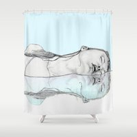 swim Shower Curtains featuring Swim by Christina Marie