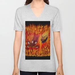 Red Dragon Claw in flames Unisex V-Neck