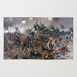 Vintage Lithograph of the Battle of Spotsylvania Rug