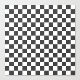 Gingham Dark Slate Grey Checked Pattern Canvas Print