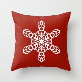 White Snowflake on a Red Backgroung Throw Pillow