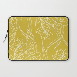 Floral Drawing in Yellow Laptop Sleeve