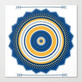 Blue and Yellow Mandala Canvas Print