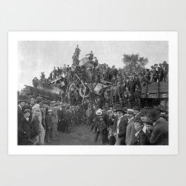 1896 Train Wreck, Buckeye Park in Lancaster, Ohio black and white photography / photograph Art Print