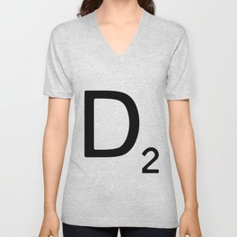 Letter D - Custom Scrabble Letter Wall Art - Scrabble D Unisex V-Neck