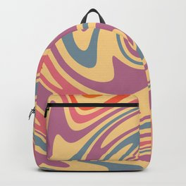 70s Retro Swirl Color Abstract 3 Art Backpack