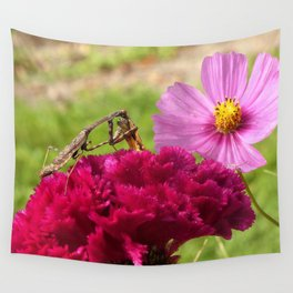 Praying Mantis Dining on a Moth Wall Tapestry