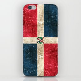 Vintage Aged and Scratched Dominican Flag iPhone Skin