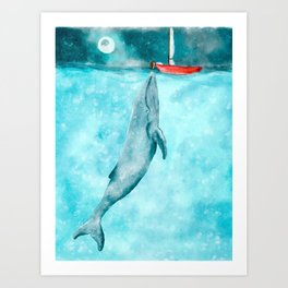 Whale illustration red boat Art Print