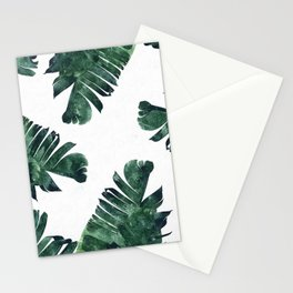 Banana Leaf Watercolor Painting, Tropical Nature Botanical Palm Illustration Bohemian Minimal Luxe Stationery Cards