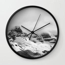 Mountain Minimalism Glacier Alberta | Black and White Photography Wall Clock