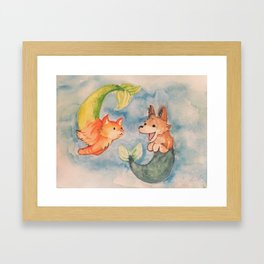 Purrmaid and Seadog Framed Art Print