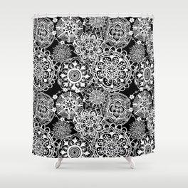 Black and White Mandala Pattern Shower Curtain