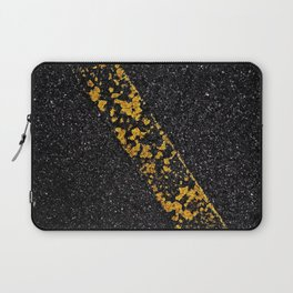 Old Yellow painted line on asphalt road Laptop Sleeve