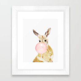 Kangaroo, Bubble gum, Pink, Animal, Nursery, Minimal, Trendy decor, Interior, Wall art Framed Art Print