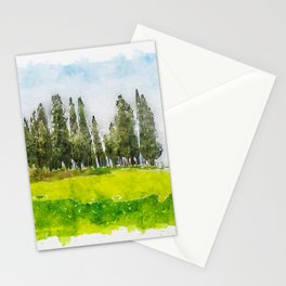 Aquarelle sketch art. Beautiful spring minimalistic landscape with Italian Cypress on the green hill Stationery Cards