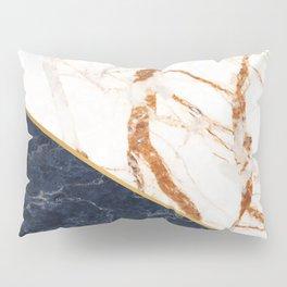 Classy Elegant White Blue Gold Marble Pillow Sham