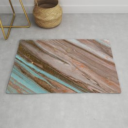 Pale Marble Brown And Blue Tones Rug