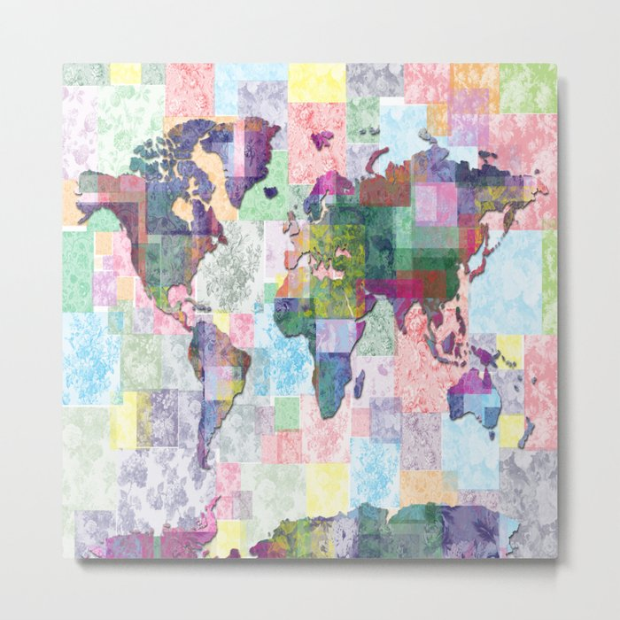 world map floral collage Metal Print