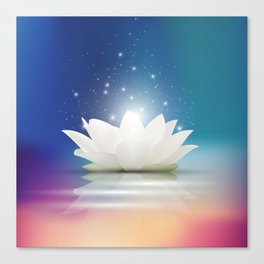Elegant Gentle  White  Lotus / Lily flower Canvas Print