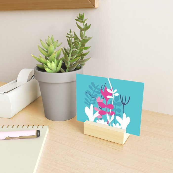 Flower Bouquet in Blue and Pink Mini Art Print