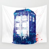 tardis Wall Tapestries featuring Tardis by lauramaahs