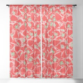 Strawberry Summer Sheer Curtain