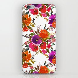 Orange violet lilac watercolor hand painted floral pattern iPhone Skin