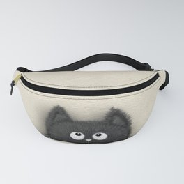 Cute Fluffy Black cat peaking out Fanny Pack